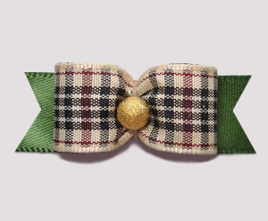 "#2510- 5/8"" Dog Bow- Chic Designer Plaid on Olive, Gold Stardust"