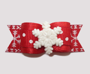 "#2513 - 5/8"" Dog Bow - Wonderful Winter Snowflake, Let It Snow!"