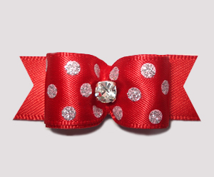 "#2514 - 5/8"" Dog Bow - Classic Red with Shimmer Dots, Rhinestone"