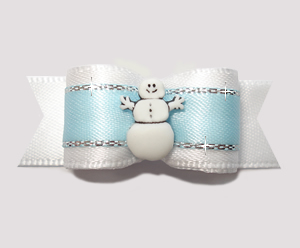 "#2520 - 5/8"" Dog Bow - Happy Snowman, White/Powder Blue/Silver"