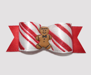 "#2524 - 5/8"" Dog Bow - Candy Cane Gingerbread Delight"