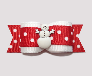 "#2532 - 5/8"" Dog Bow - Cute Red/White Dots, Happy Snowman"