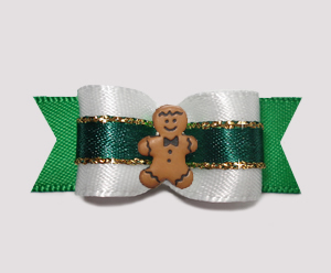 "#2535 - 5/8"" Dog Bow - Holiday White & Green w/Gold, Gingerbread"