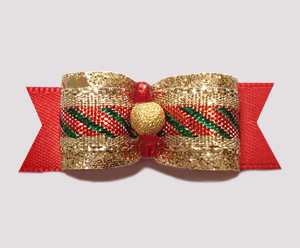 "#2536 - 5/8"" Dog Bow - Classic Holidays, Gold Stardust"
