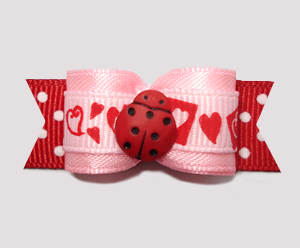 "#2541 - 5/8"" Dog Bow - Sweetheart Pink/Red, My Little Love Bug"