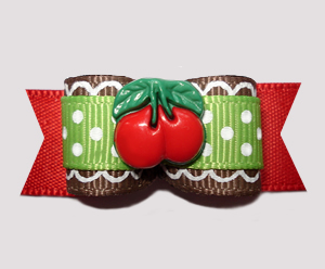 "#2542 - 5/8"" Dog Bow- Red/Green w/Touch of Whimsy, Cherry Sweet!"