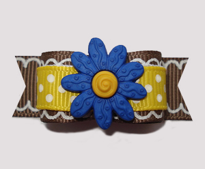 "#2543 - 5/8"" Dog Bow- Think Spring! Daffodil Yellow w/Blue Daisy"
