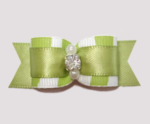 "#2545 - 5/8"" Dog Bow - Zowie Zebra, Sage Green on Green"