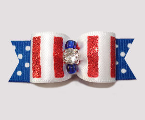 "#2550 - 5/8"" Dog Bow - Sparkly Stripes, Red/White 'n Blue Dots"