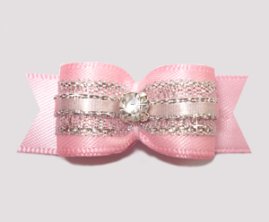 "#2553 - 5/8"" Dog Bow- Gorgeous Pink Princess Sparkle, Rhinestone"