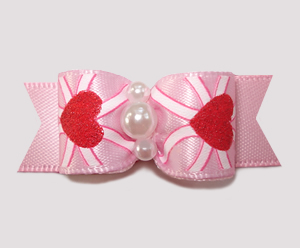 "#2554 - 5/8"" Dog Bow - Sweetheart Pink, Shimmery Hearts"