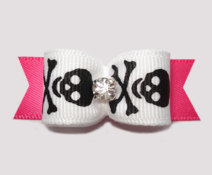 "#2555 - 5/8"" Dog Bow- Girly Skull & Xbones, Black/White/Hot Pink"