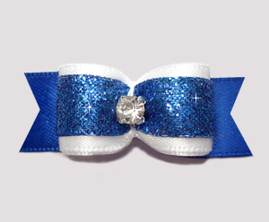 "#2563 - 5/8"" Dog Bow - Nautical White & Blue Glitter, Rhinestone"