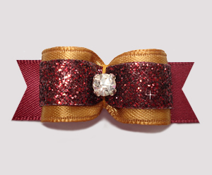 "#2568 - 5/8"" Dog Bow - Old Gold & Burgundy Glitter, Rhinestone"