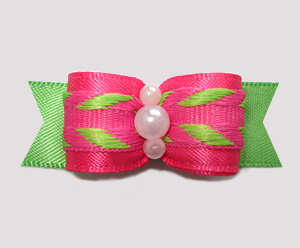 "#2574 - 5/8"" Dog Bow - Tropical Times, Hot Pink/Lime"