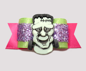 "#2575 - 5/8"" Dog Bow - Fantasic Frankenstein, Lime/Purple/Pink"