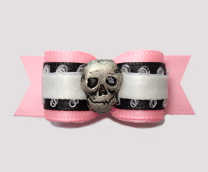 "#2581 - 5/8"" Dog Bow - Baby Punk, Soft Pink/Black, Skull"