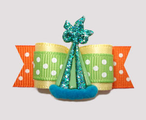 "#2582 - 5/8"" Dog Bow - Polka Dot Party! Yellow/Green/Orange"