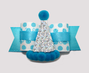 "#2585 - 5/8"" Dog Bow - Electric Blue Dots, Silver Glitter Hat"