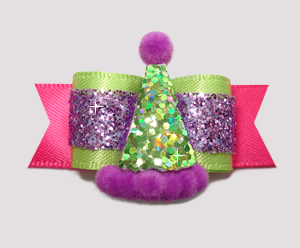 "#2586- 5/8"" Dog Bow - Diva Party - Lime/Purple Glitter/Hot Pink"