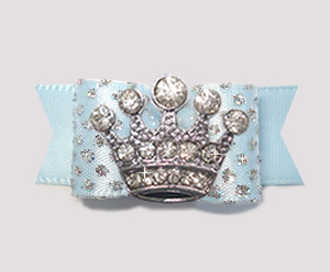 "#2590 - 5/8"" Dog Bow - Prince/Princess Sparkle, Soft Blue, Crown"