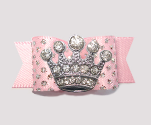 "#2591- 5/8"" Dog Bow - Princess Sparkle & Bling, Soft Pink, Crown"
