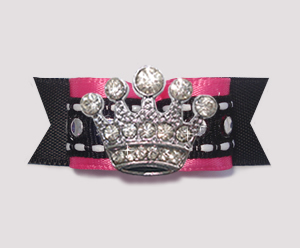 "#2593 - 5/8"" Dog Bow - Bling! Hot Pink/Black w/Sequins, Crown"