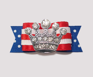 "#2596 - 5/8"" Dog Bow - Patriotic Prince/Princess, Crown"