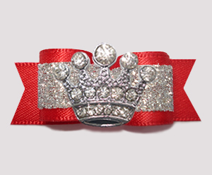 "#2603 - 5/8"" Dog Bow - Showy Red & Silver Glitter, Sparkly Crown"