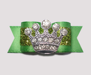 "#2606- 5/8"" Dog Bow- Gorgeous Glitter, Summer Green, Bling Crown"