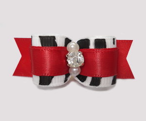 "#2613 - 5/8"" Dog Bow - Zebra and Classic Red, Rhinestone"