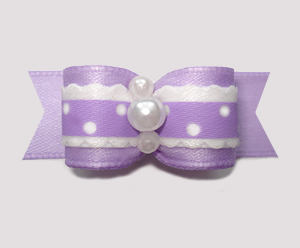 "#2614 - 5/8"" Dog Bow - Country Cottage Ruffle, Lavender"