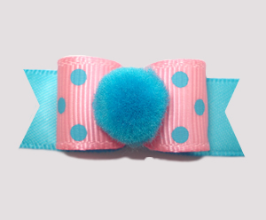 "#2616 - 5/8"" Dog Bow - Pom-Pom Pizzaz, Pink/Electric Blue Dots"