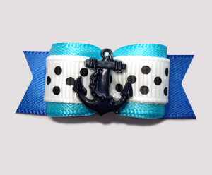 "#2618 - 5/8"" Dog Bow - Ahoy! Sea Blues 'n Dots, Navy Anchor"