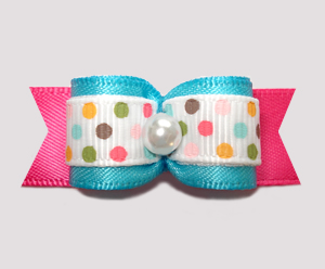 "#2621 - 5/8"" Dog Bow - Ice Cream Dots, Electric Blue/Hot Pink"