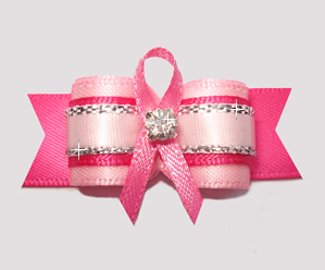 "#2627 - 5/8"" Dog Bow - Breast Cancer Awareness Pink Ribbon"