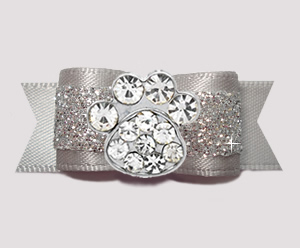 "#2630 - 5/8"" Dog Bow - Gorgeous Glitter, Slate/Silver, Bling Paw"