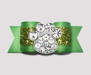 "#2635 - 5/8"" Dog Bow - Gorgeous Glitter, Summer Green, Bling Paw"