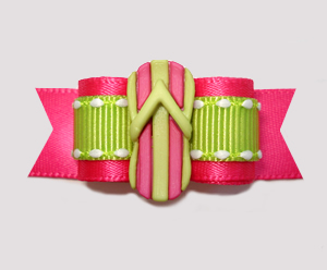 "#2642 - 5/8"" Dog Bow - Hot Summer Day Flip Flop, Hot Pink/Green"