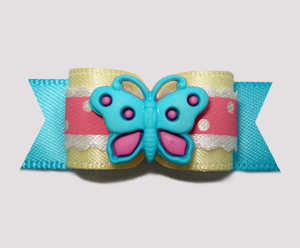 "#2643 - 5/8"" Dog Bow - Sweet Little Butterfly, Pink/Blue/Yellow"