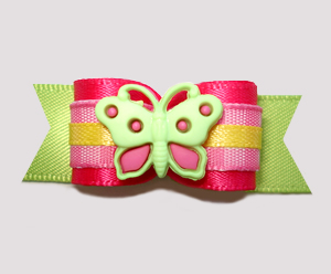 "#2645 - 5/8"" Dog Bow - Cheery, Bright Butterfly, Hot Pink/Green"