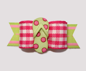 "#2646 - 5/8"" Dog Bow - Beach Picnic, Pink Gingham, Flip Flop"