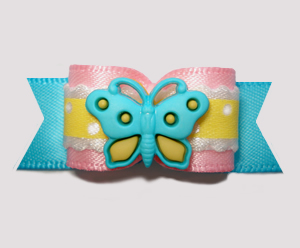 "#2647 - 5/8"" Dog Bow - Little Butterfly Baby, Pink/Yellow"