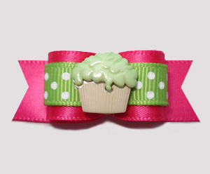"#2661 - 5/8"" Dog Bow - Sweet Little Cupcake, Hot Pink/Green"