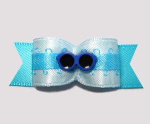"#2663 - 5/8"" Dog Bow - Beach Fun, Cool Jazzy Blues"