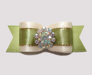 "#2671 - 5/8"" Dog Bow - Elegant Cream/Sage, Rhinestone Flower"