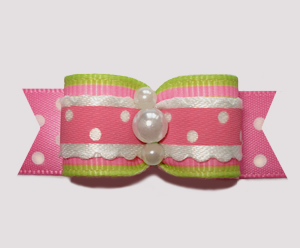"#2674 - 5/8"" Dog Bow - Country Cottage Ruffle, Pink/Lime"