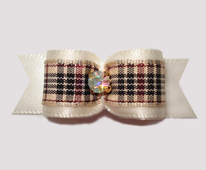 "#2684- 5/8"" Dog Bow - Designer Plaid, Cream Satin, AB Rhinestone"