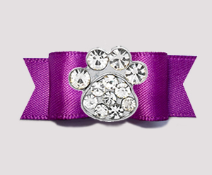"#2686 - 5/8"" Dog Bow - Lovely Orchid Purple, Bling Paw"