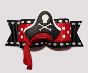 "#2689 - 5/8"" Dog Bow - Fantastic Pirate Hat with Red Sash"